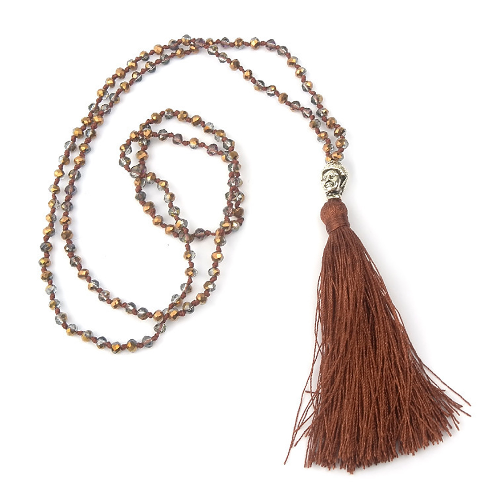 Crystal Beaded Buddha Tassel Bohemian Handmade Pendant Necklace Chain Women's Fashion Jewelry Gift