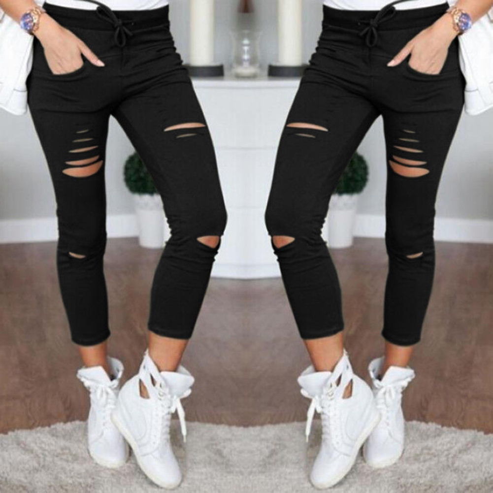 Hot Fashion Woman Slim Hollow Out Pencil Pant Lace Up Hole Trousers Casual Pants