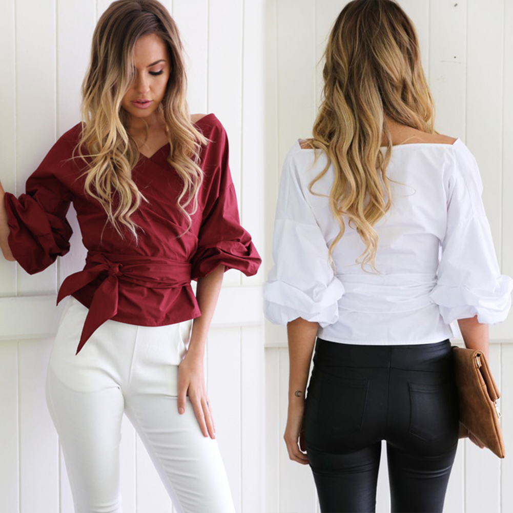 New Fashion Women's Lady Blouse Shirt Off Shoulder Long Sleeve Casual Tops Blouse