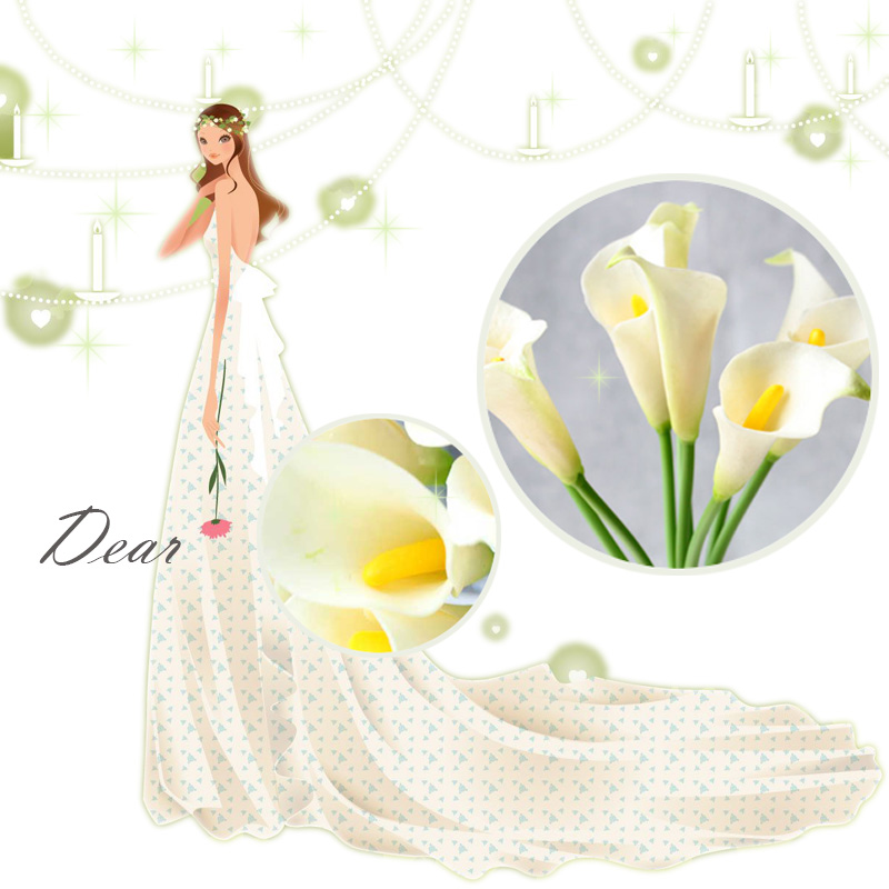 Calla Lily Bridal Wedding Bouquet head Latex Real Touch Artificial Flower Decor