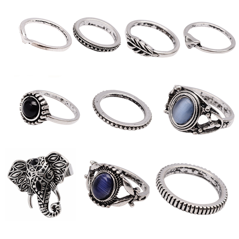 new 10pcs  set bohemian sliver plated knuckle ring gemstone elephant midi ring jewelry