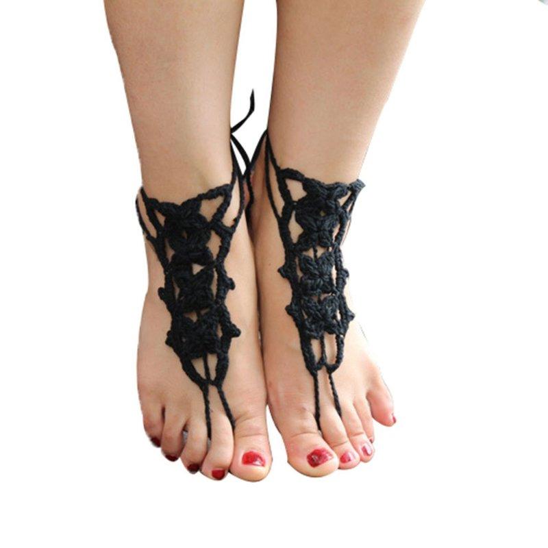 Black Crochet Barefoot Sandals Beach Wedding Bridal Anklet Bracelet Foot Jewelry