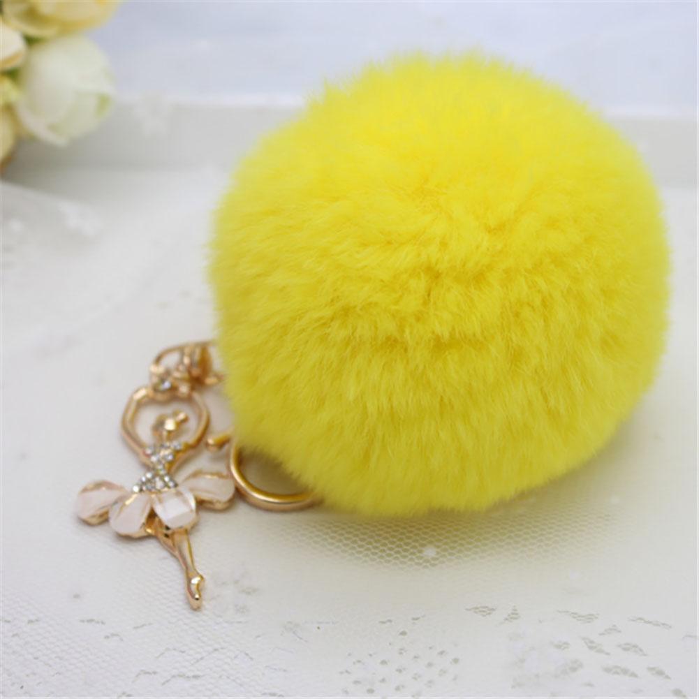 Women Plush Bag Accessories Cute Angel Diamond Car Key Chain Handbag Accessories Plush Rabbit Hair Bulb Key Chain Pendant 8cm