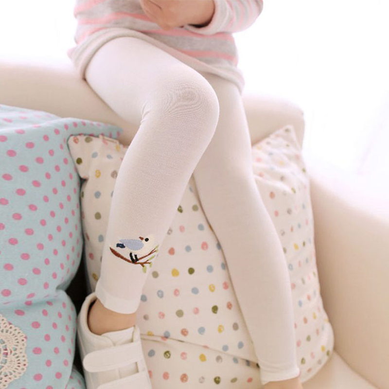 Baby Kids Girls Cotton Pants Embroidery Bird Warm Stretchy Leggings Trousers Cute