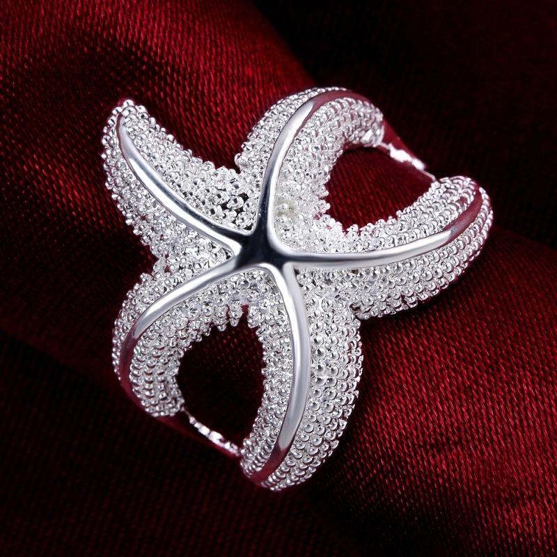 Womens Chic Stylish Silver Plated Starfish Ring Fashion Jewelry Size 6 7 8