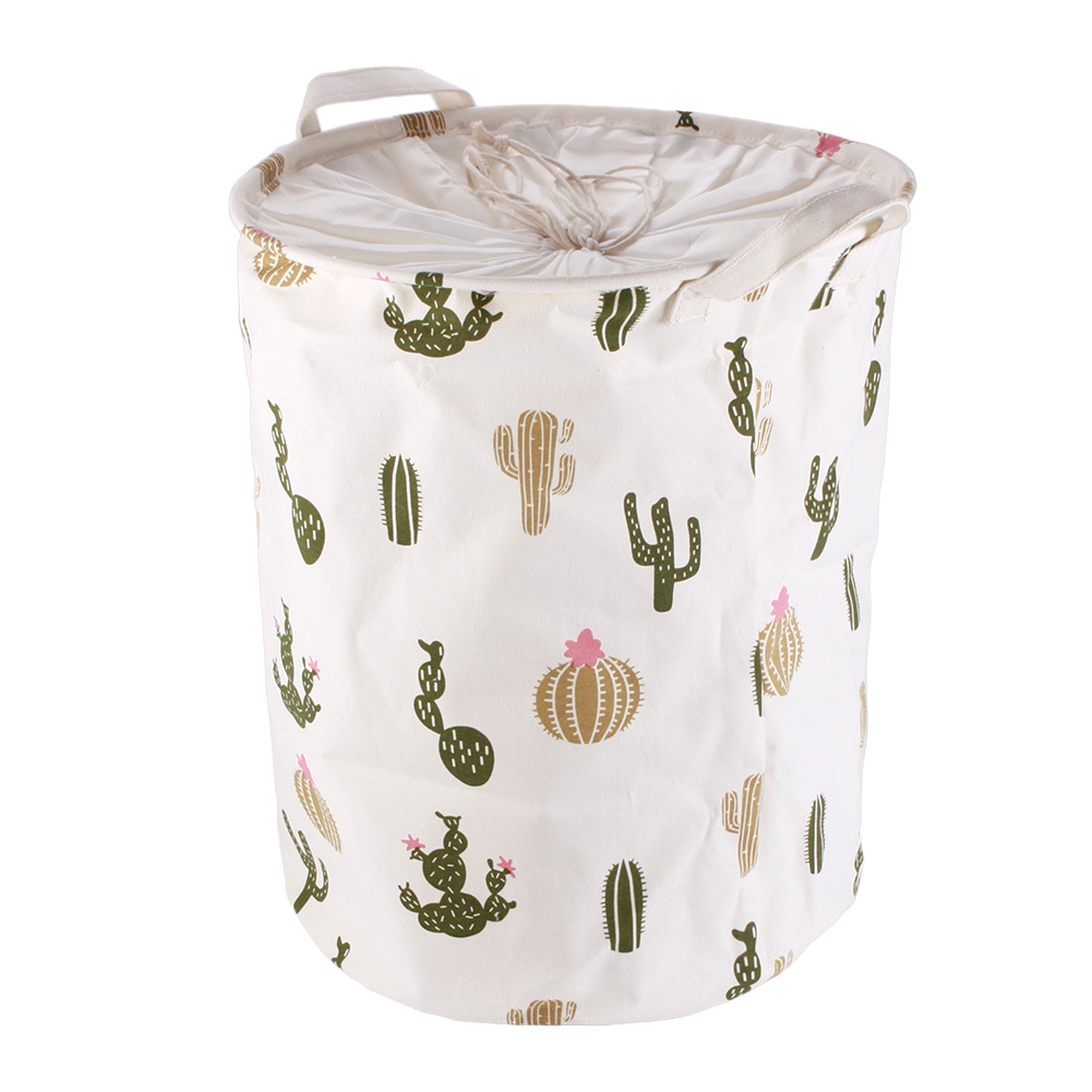 Newest Stylish Cactus Pattern Linen Cotton Canvas Desk Toy Storage Box Holder Laundry Basket