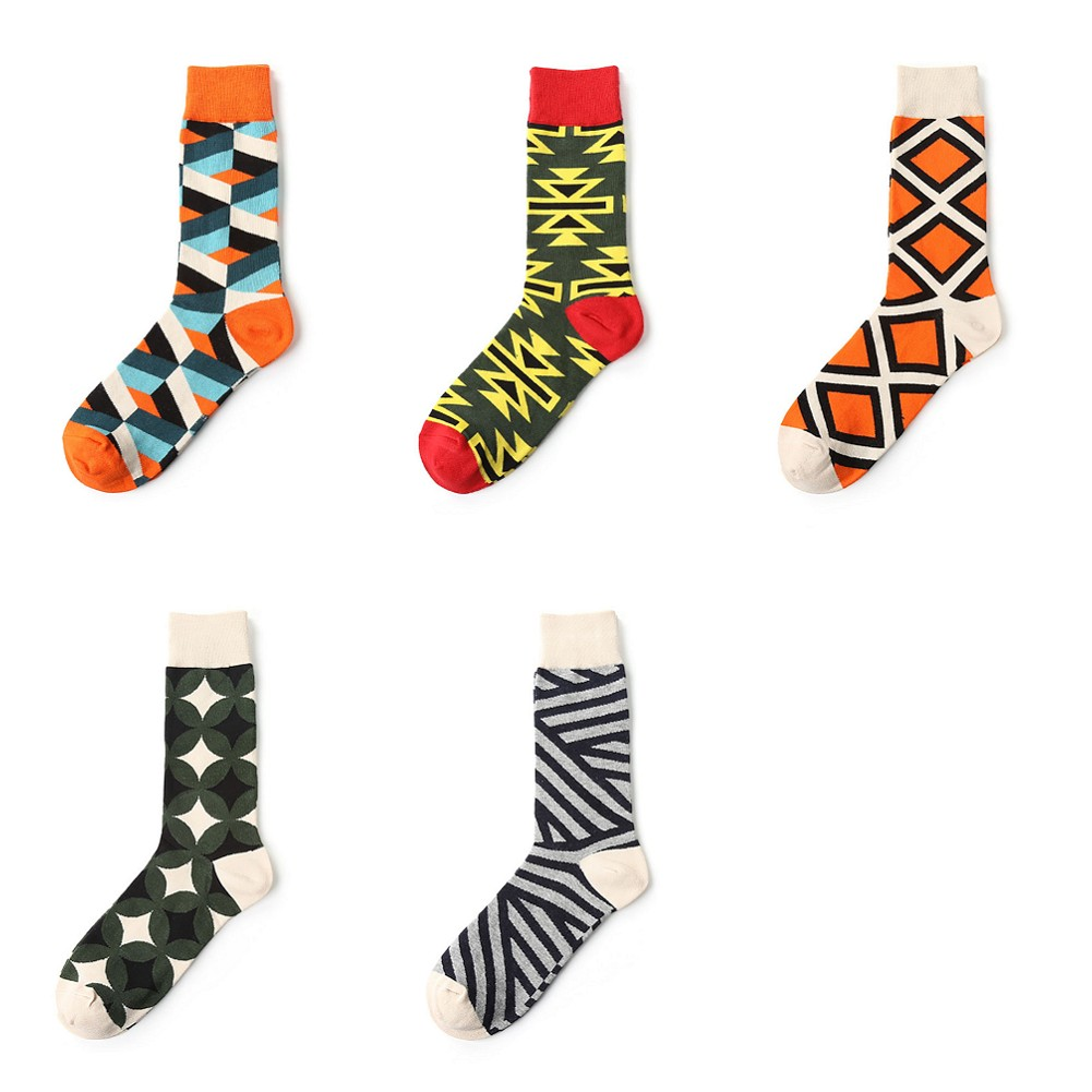 5 Pairs Women Men Splicing Geometry Painting Art Crew Socks Funny and Cool Cotton Socks