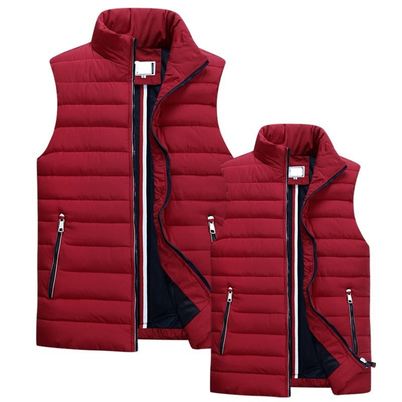 UNIVOS KUNI Men's Sleeveless Vest Homme Winter Casual Coats Male Cotton-Padded Thickening Vest Men Waistcoat Plus Size 5XL Q5123