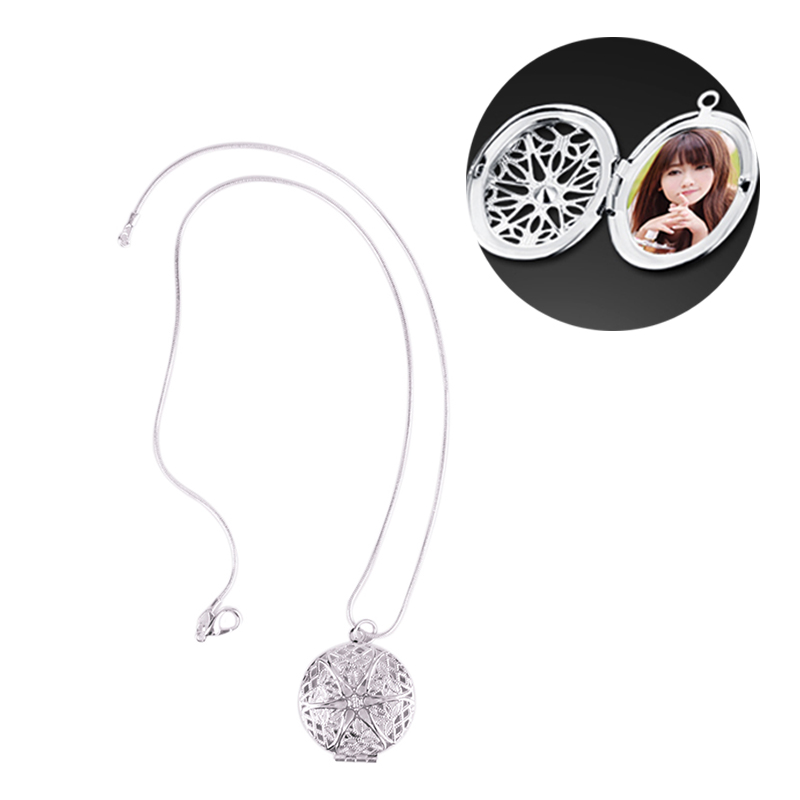 Woman Silver Plated Round Hollow Photo Picture Locket Pendant Necklace Chain