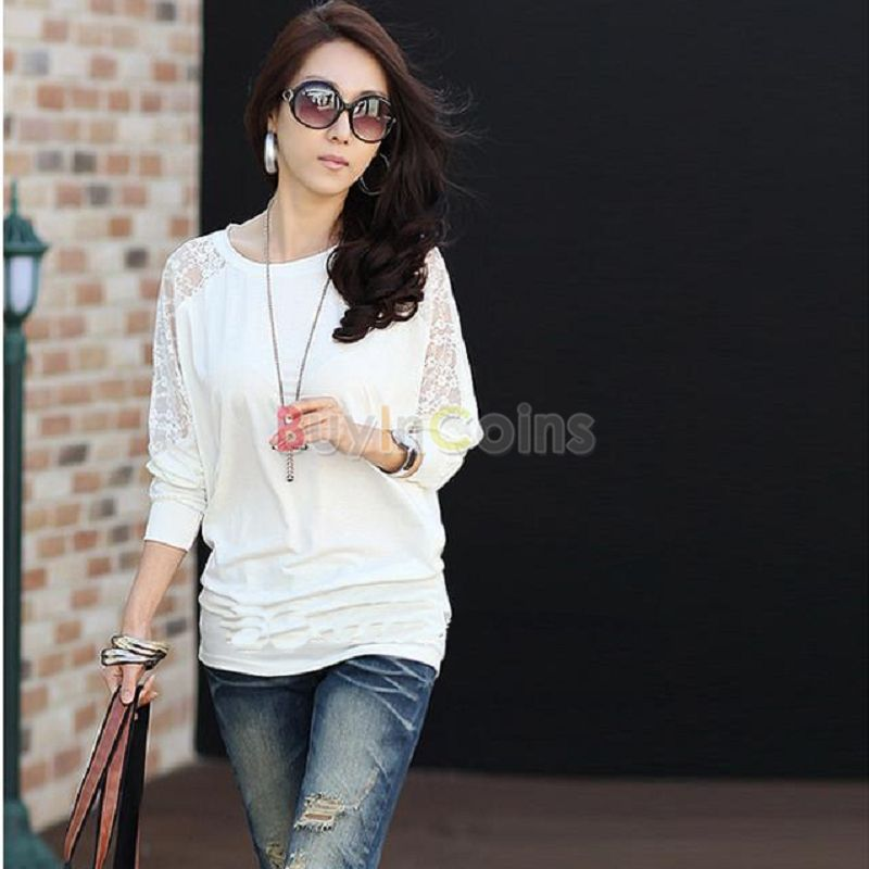 Hot Women's Batwing Top Lace Loose Blouse T-Shirt Top Long Sleeve White