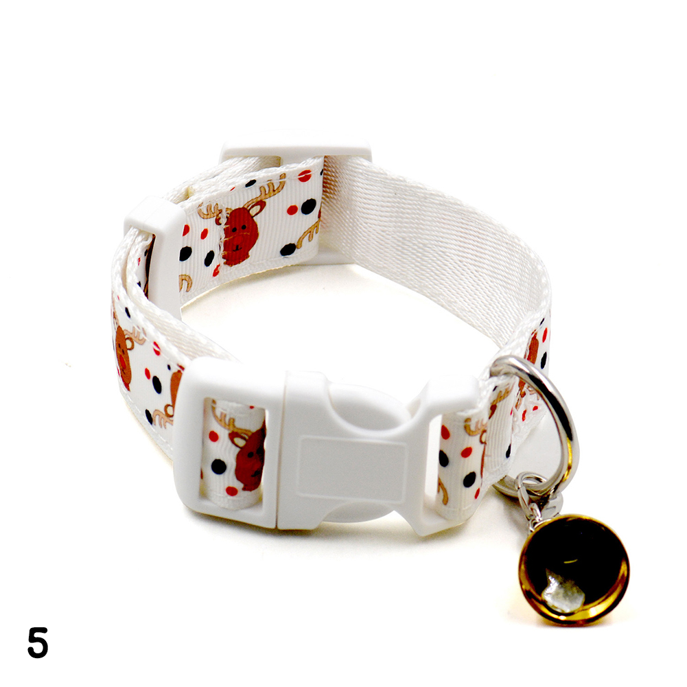 Christmas Puppy Pet Collar Adjustable Bowknot Bell Necklace Buckle Strap