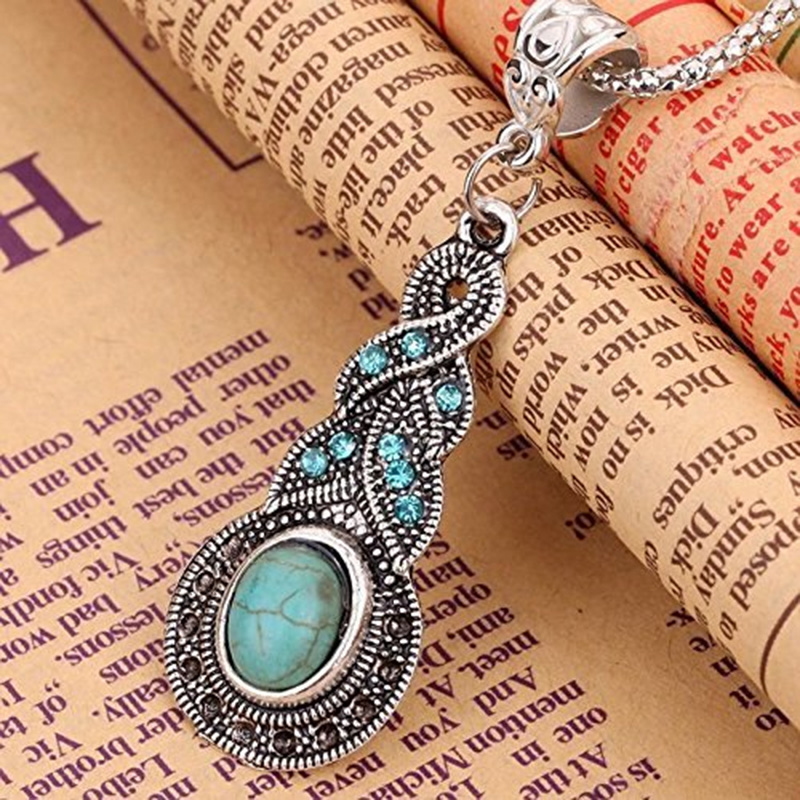 Hot Women Silver Plated Oval Turquoise Rhinestone Crystal Chain Necklace Jewelry