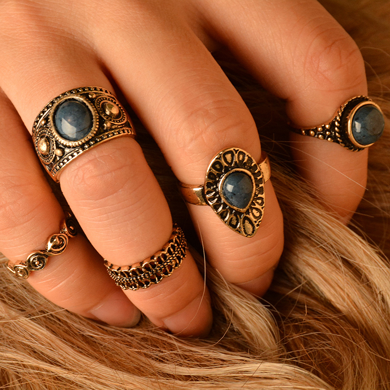 New 5Pcs/Set Vintage Gold Knuckle Nature Blue Turquoise Stone Midi Ring Jewelry