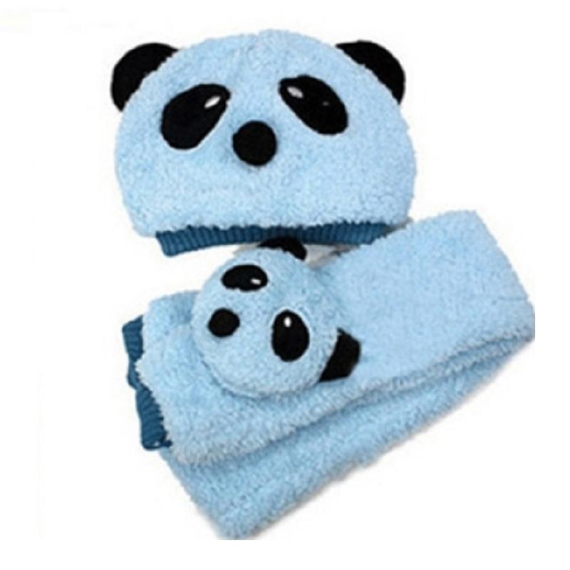 Winter Warm Children Panda Cap Beanie Scarf Set Toddler Girl Boy Cute Hat