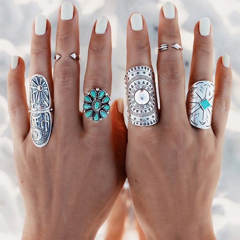 1 x Silver Punk Vintage Ring Womens Retro Geometry Midi Rings Boho Style Jewelry
