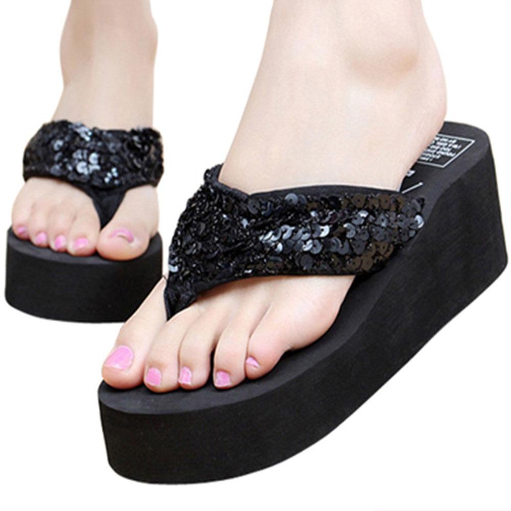Sequins Women Shoes Beach Slippers Flip Flops Sandalias Plataforma Women Wedges Women Sandals Slippers Need Wish