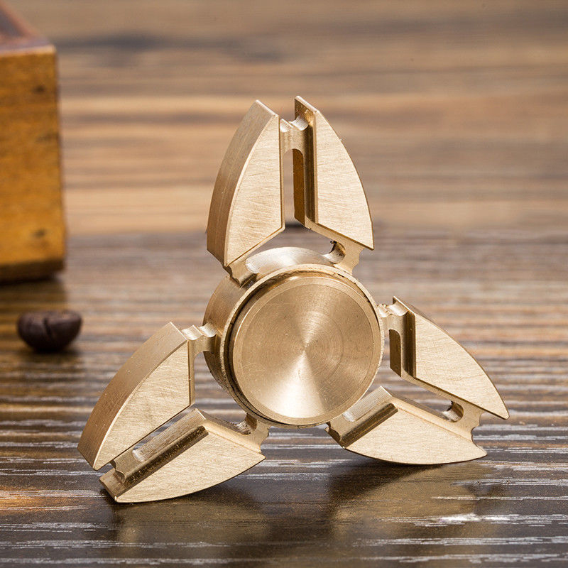 Triangle Torqbar Brass Tri-Fidget Hand Spinner Finger Toys EDC Focus Stress ADHD Autism