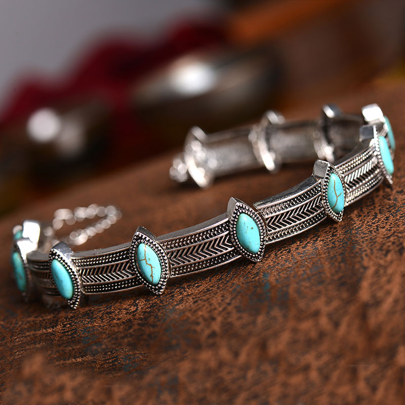 Fashion Women Vintage Ethnic Boho Collar Choker Inlay Turquoise Beads Necklace