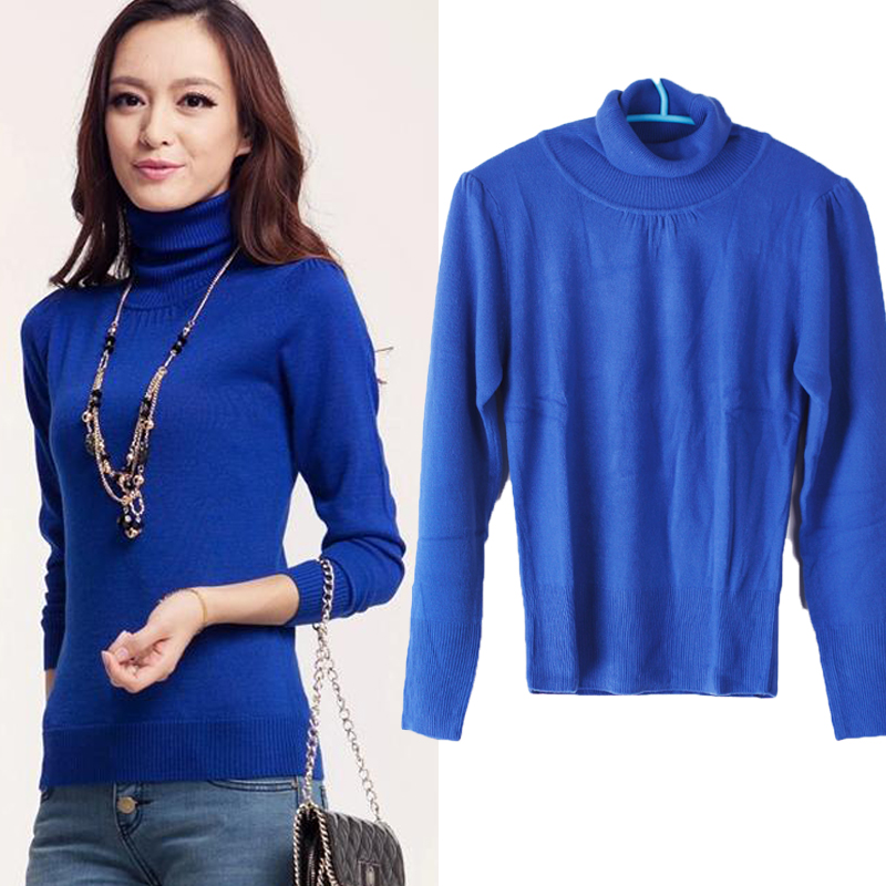 Elegance Women Slim Solid Color Long Sleeve Turtleneck Sweater Top Blouse
