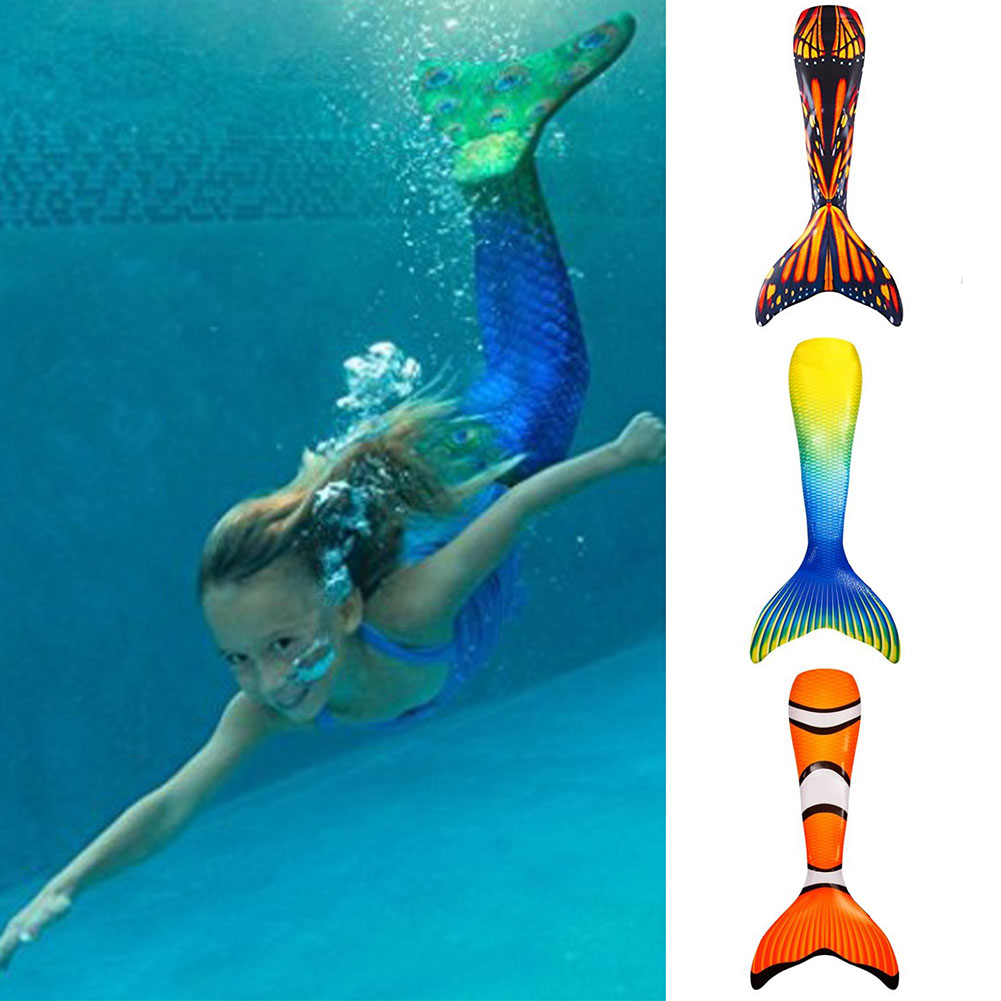 Kids Girls Mermaid Tail Swimmable Monofin Tail Swimming Costumes Flippers