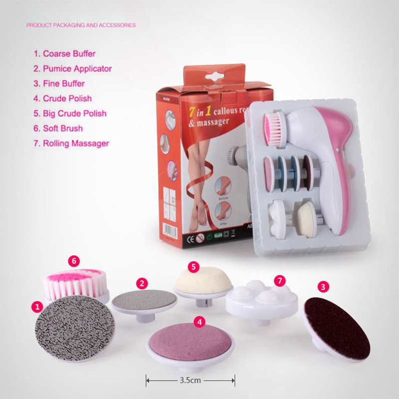 7 in 1 Electric Callus Skin Remover Massager Smoother Foot Heel Cuticle Pedicure Kit