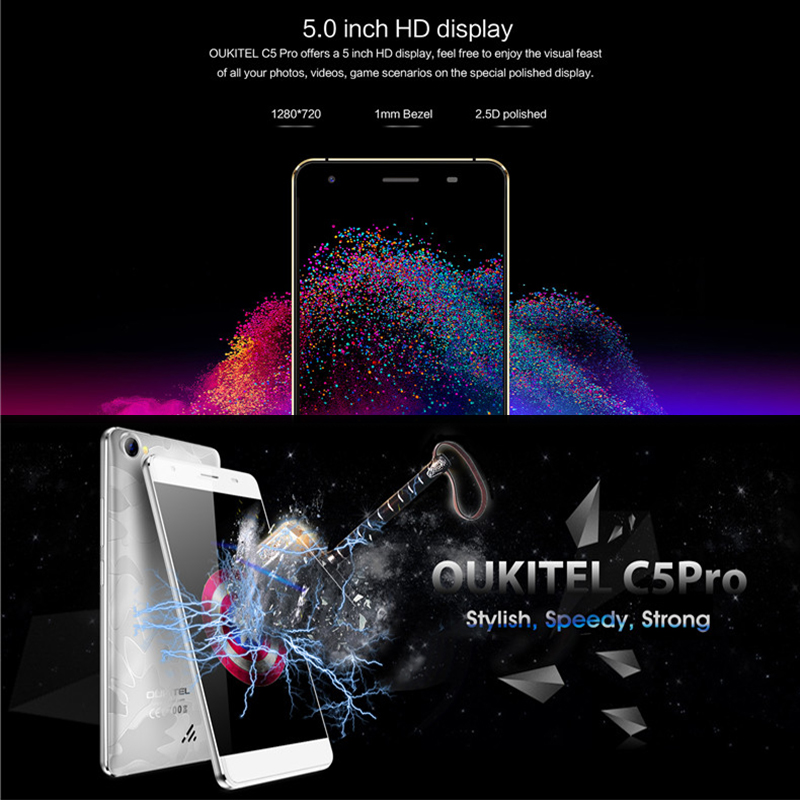 "Original Unlocked Oukitel C5 Pro Mobile Phone MTK6737 1.3GHz Quad Core 5.0"" HD 2.5D Screen 2GB+16GB Android 6.0 4G LTE Smartphone"