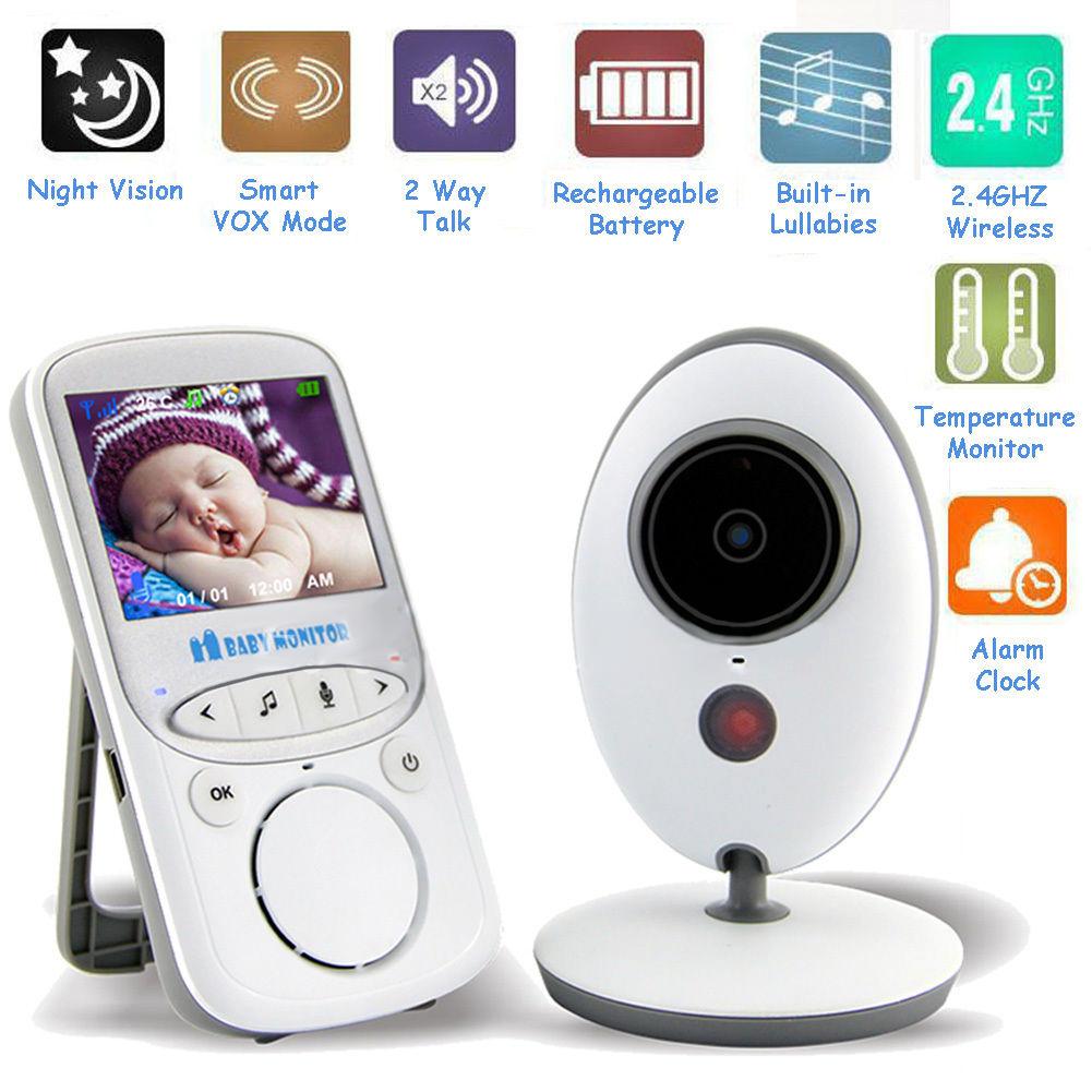"2.4"" Color LCD Digital Audio Video Babysitter Baby Monitor Wireless Portable Monitoring IR Night Vision Temperature Display"