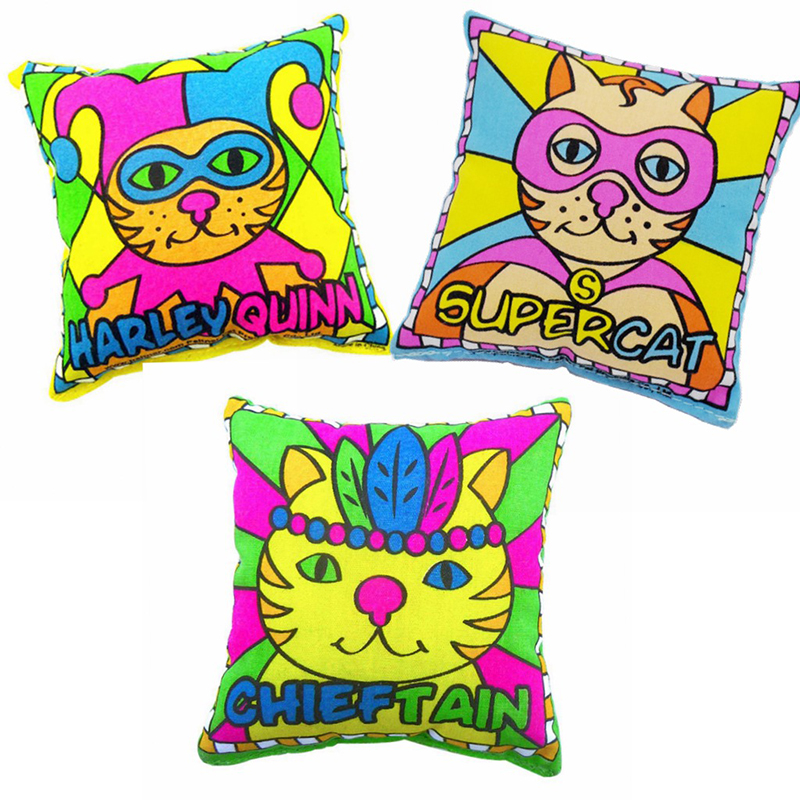 Funny Pet Cat Playing Mini Cotton Pillow Toys Colorful Plush Gift