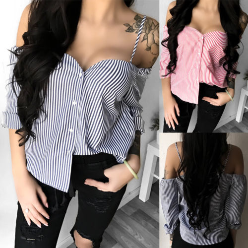 Trendy New Women Lady Loose Long Sleeve Casual Off Shoulder Strap Strip Printed Blouse Shirt Tops Loose Fashion Blouse