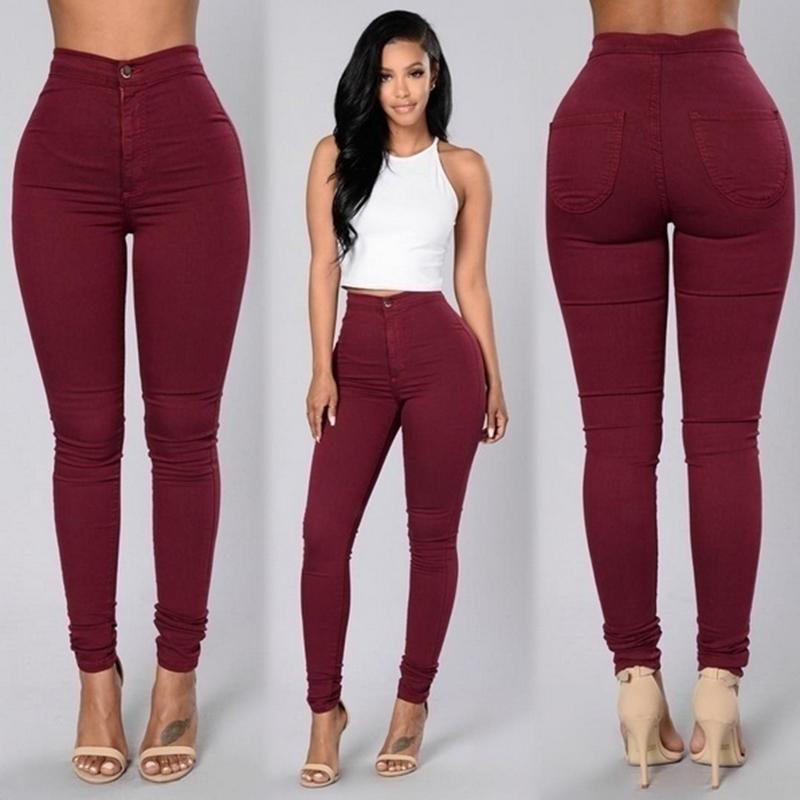 Multi Colors Women Casual Jeans Vintage Green White Blue Denim Jeans Pants