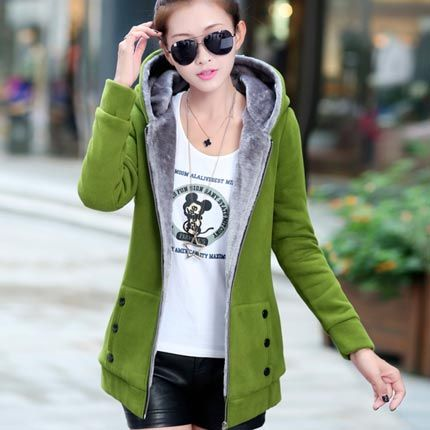 Spring and autumn loaded new thick Korean version of the long section of the hair liner cardigan jacket plus velvet hooded sweater student shirt women