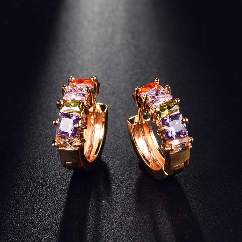 1 Pair Color Zircon Crystal Circle Stud Earrings Gold Plated Cuff Ear for Women's Party Jewelry