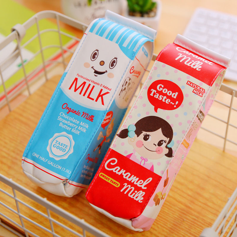 Cute Milk Stationery Pencil Pen Case Cosmetic Makeup Bag Zipper Pouch Case