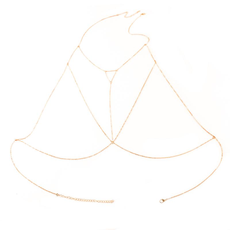 Sexy Women Bra Bikini Beach Multilayer Harness Necklace Waist Belly Body Chain Gold Silver Jewelry