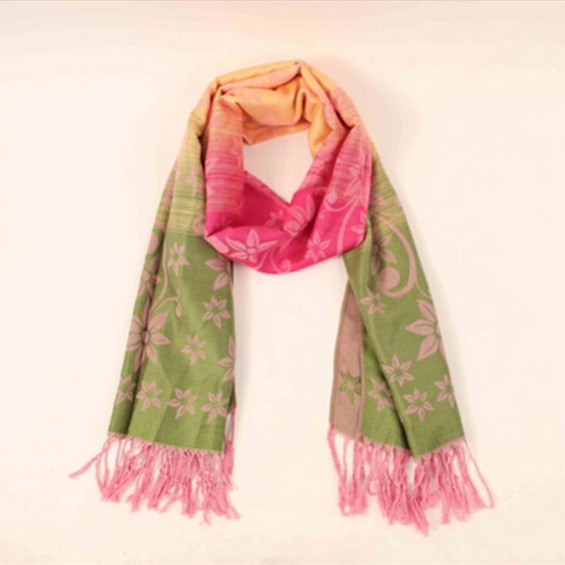 Women Gradients Printed Floral Cotton Scarf Sunblock Shawl Wrap Large Vintage