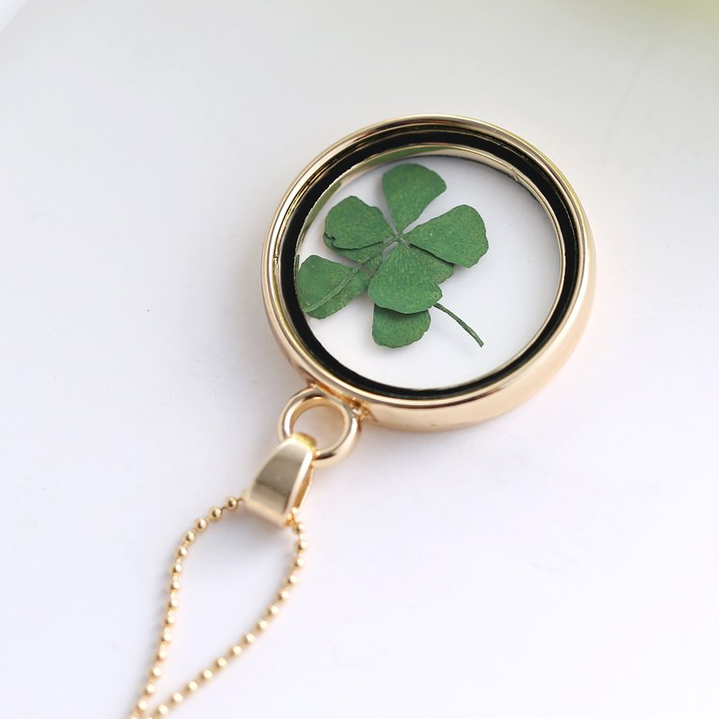 New Gold Crystal Glass Clover Dried Flowers Round Pendant Chain Necklace Jewelry