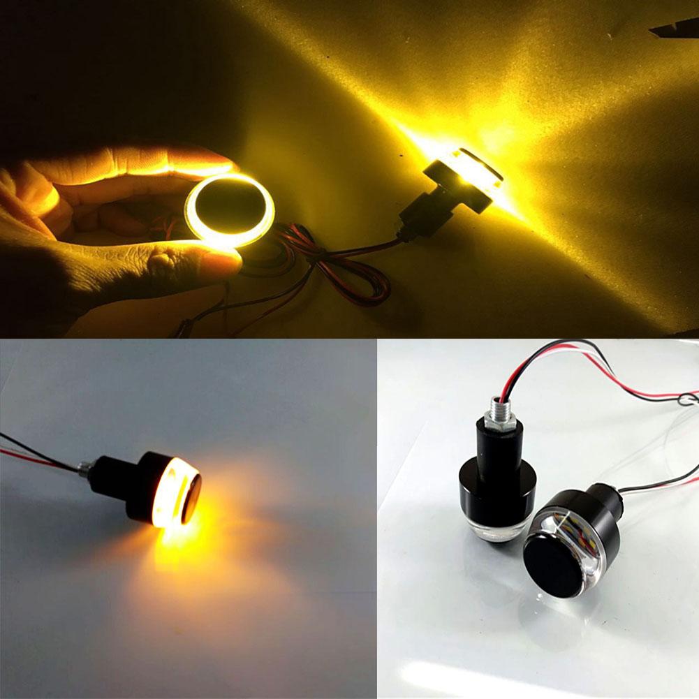 2Pcs Motorcycle Turn Signal LED Light Indicator Blinker Handle Bar End Handlebar