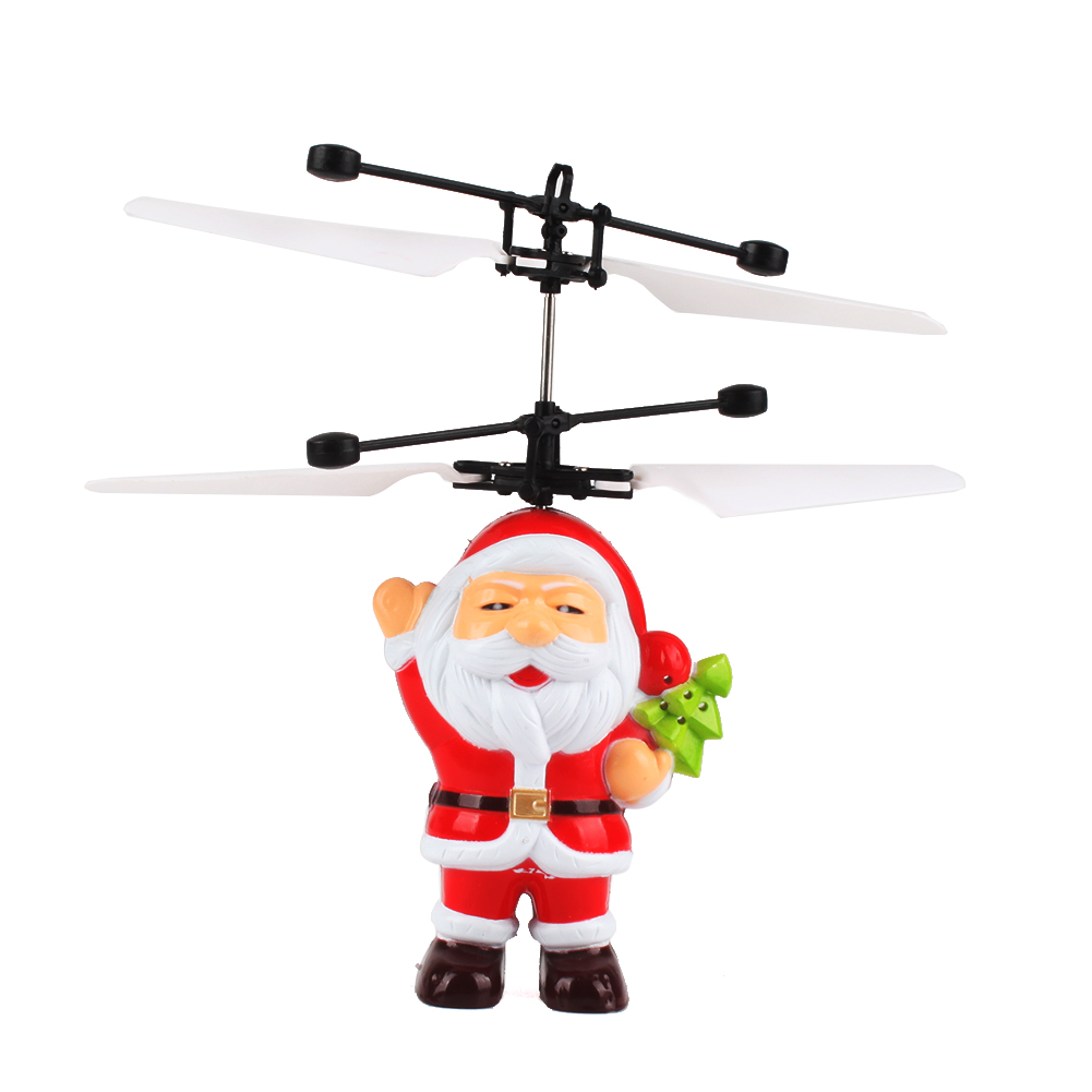 Santa Electric Infrared Sensor Flying Ball Helicopter LED Light Christmas Gift toy