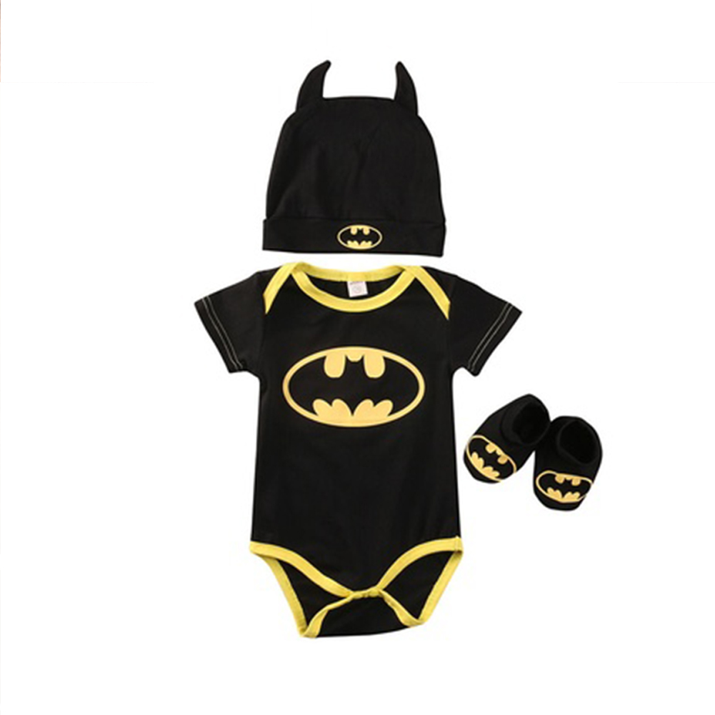 Newborn Baby Batman Short Sleeve Romper Bodysuit+Shoes+Hat Clothes 3Pcs Outfits Set