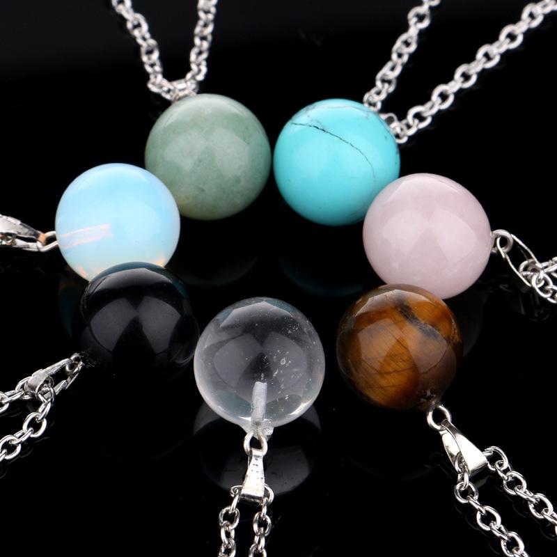 New Natural Stone Quartz Crystal Round Pendant Chakra Point Healing Gem Necklace