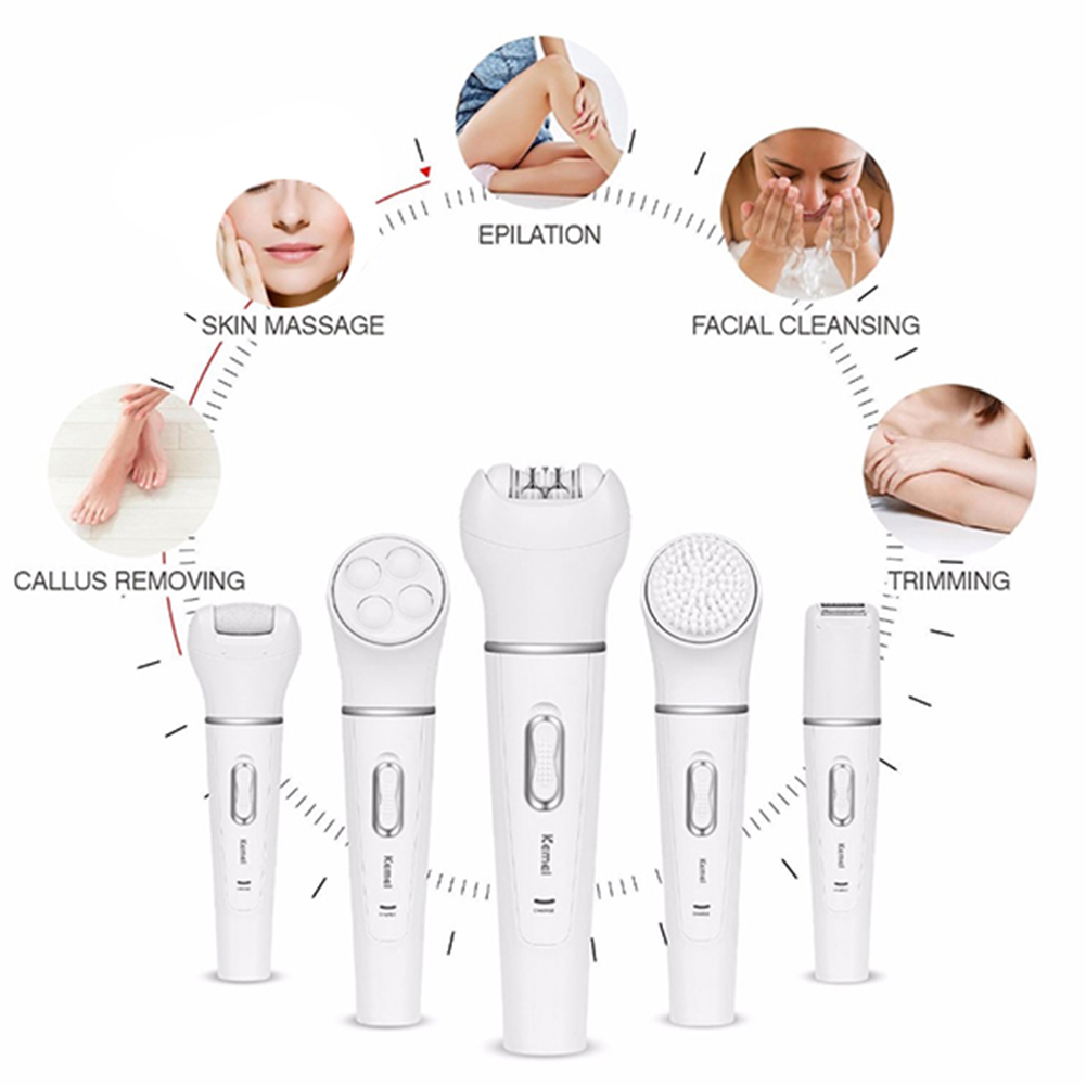 5 in 1 Rechargeable Women Electric Shaver Epilator Cleansing Brush Massager Foot Callus Remover for Bikini Hair Removal EU Plug