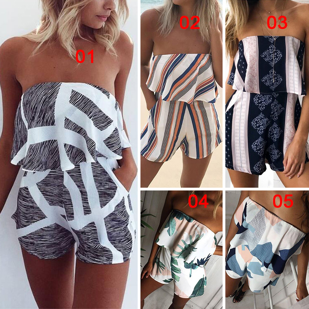 2017 New Women Off Shoulder Bodycon Jumpsuit Rompers Shorts Trousers Clubwear Playsuit