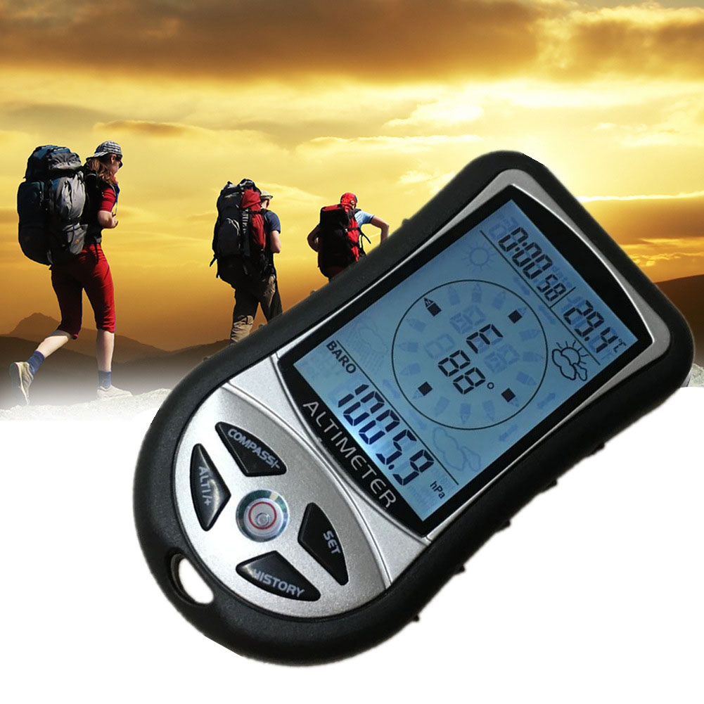 8in1 Hand-held Electronic Altimeter For Mountaineering Portable Fishing Barometer Compass Altimeter