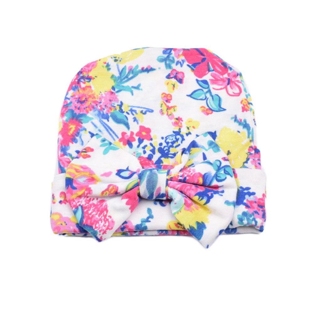 6 colors big bowknot flower printted baby girl hat newborn cap headwear