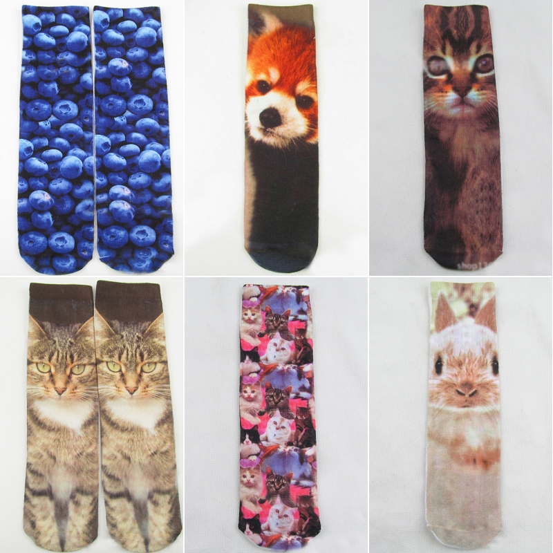Multi-color Men Women Multiple Colors Harajuku 3D Printed Cute Unisex Cotton High Socks