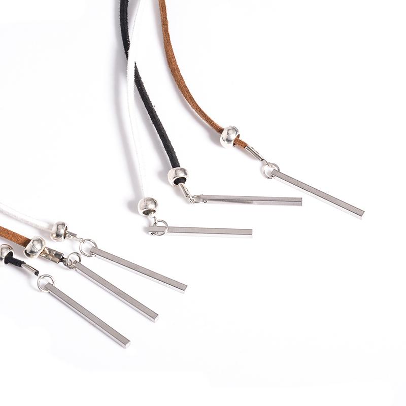 3Pcs Gothic Velvet Rope Choker Necklace Long Chain Silver Tube Pendant Jewelry Set