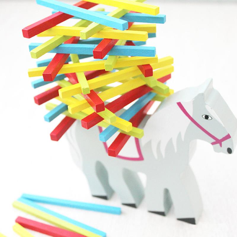 Animal Wooden Puzzle Balance Beam Toys Kids Puzzle Stacking Blocks Game