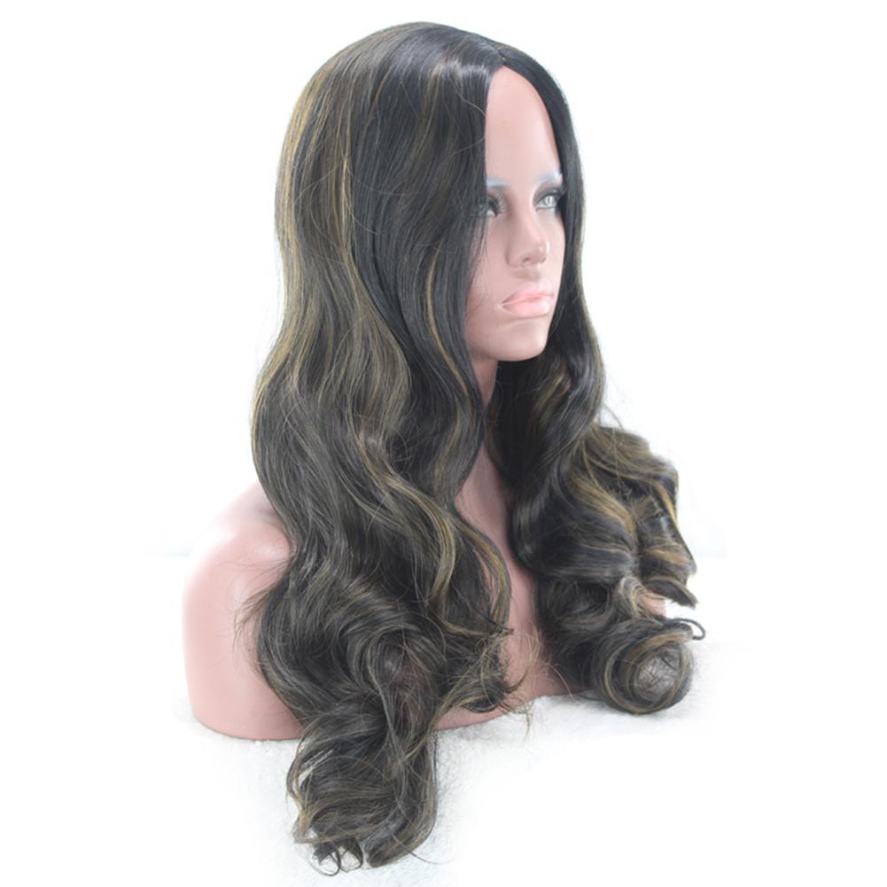 Black Dark Brown Brazilian Hair African Ameri Curly Wavy Women Wig Hair 70cm