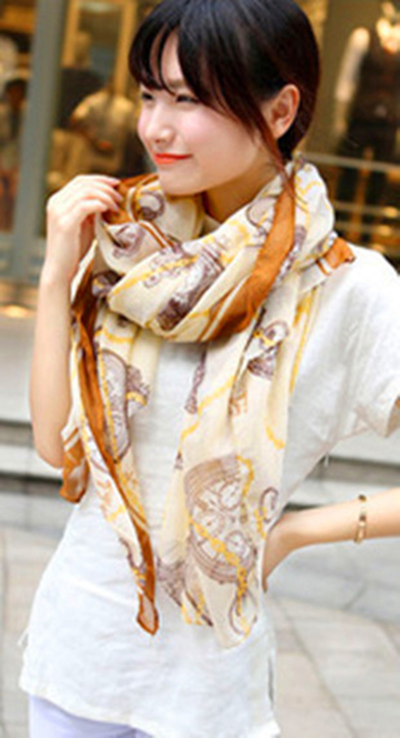 New Autumn Women Soft Fashion Shawl Wrap Long Bohemia Clocks Chains Printed Scarf