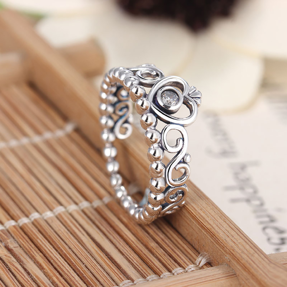 Princess Queen Crown Sterling Silver Crystal Ring Wedding Engagement Rings Women's Jewelry Gift